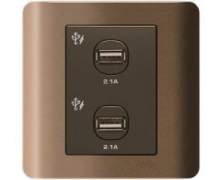 2 Ổ sạc cổng USB Zencelo, màu đồng